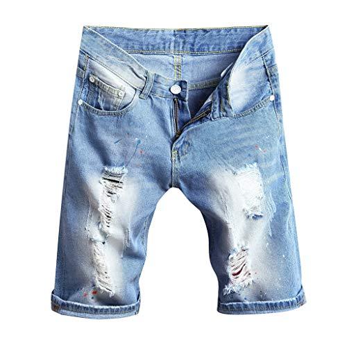GreatestPAK Herren Lose Zerrissene Jeans Kurze Hosen Neu Sommer Strand Freizeit gerade Hosen Strand-Kurzschlüsse Denim 1/2 Kurzschlüsse,Hellblau,EU:S(Tag:33) -