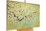 KunstLoft® Gemälde 'Kirschblüten' in 120x80cm | XXL Leinwandbild handgemalt | Weiße Kirschblüte auf Grün & Mint | signiertes Wandbild-Unikat | Acrylgemälde auf Leinwand | Modernes Kunstbild | Sehr großes Acrylbild auf Keilrahmen