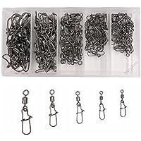 Kit d'émerillons et agrafes de pêche en acier inoxydable - Ultra solides - Taille 2, 4, 6, 8 et 10 - Boîte de 95 pèces