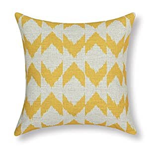 Euphoria CaliTime Cushion Cover Throw Pillow Shell Ikat Malposed Zigzag Stripes Geometric Figures 45cm X 45cm Yellow