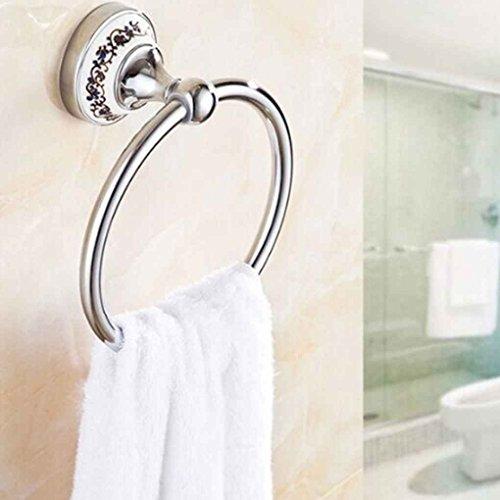 Kongnijiwa Keramik Bade Küche Edelstahl-Handtuchhalter Einzel Waschlappen Ring Hanger