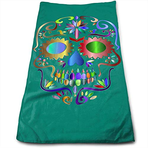 Hipiyoled Prismatic Sugar Skull Logo Fade-Resistant Super Absorbent Shower\Beach\Bath Towels Workout,Gym,Fitness,Golf,Yoga,Camping,Hiking,Bowling,Travel,Outdoor Sports Towel