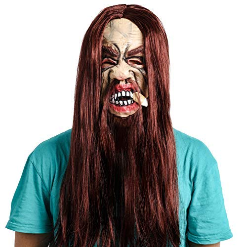 SLM-max Halloween Maske, Prom Performance Langhaar Gesichtsmaske, Brown Beard Smoker Fake Face Requisiten, Latex Material