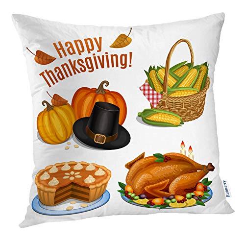 Batmerry Halloween/Thanksgiving, dekorative Kissenbezüge, 45,7 x 45,7 cm, Türkei, Riesen-Kürbis Vogel, Cartoon, Herbstlandschaft, Braun, Baumwolle, Color 7, 18 x 18