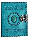 #9: Pranjals House Vintage Leather Handmade Paper Notebook Dairy For Office/Home With Attractive Shinning Stone - Size Of 4X6 Inch (Blue)