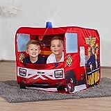 John 78208 Feuerwehrauto Sam mit Blaulicht-Spielzelt, Feuerwehrzelt, Kinderzelt, Spielhaus mit gedrucktem Motiv für Kinder, Rot Test