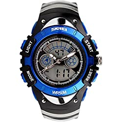 SKMEI Analogue-Digital Kids Watch Led Week Alarm Chronograph Boys Girls Sport Wristwatch Blue
