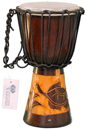 Kascha - Professionelle 30cm Djembe Trommel Bongo Drum Buschtrommel Afrika-Style handgeschnitzt aus Mahagoni Holz Schildkröte 2