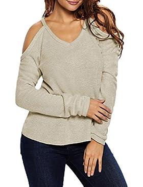 Azbro Mujer Suéter Mangas Largas Fuera de Hombro Cuello V Dobladillo Alto-bajo