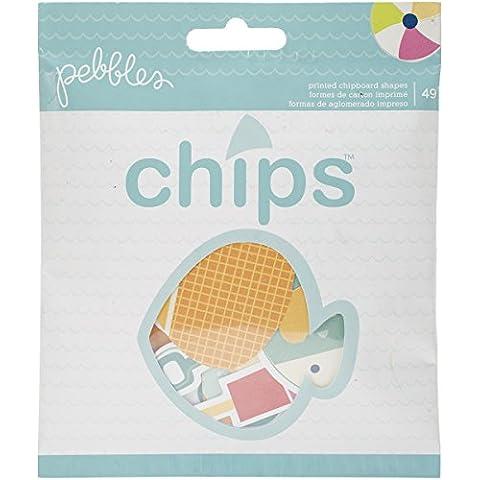 American Crafts-Cartoncino Fun In The Sun Chips forme fustellate, motivo fantasia Ephemera