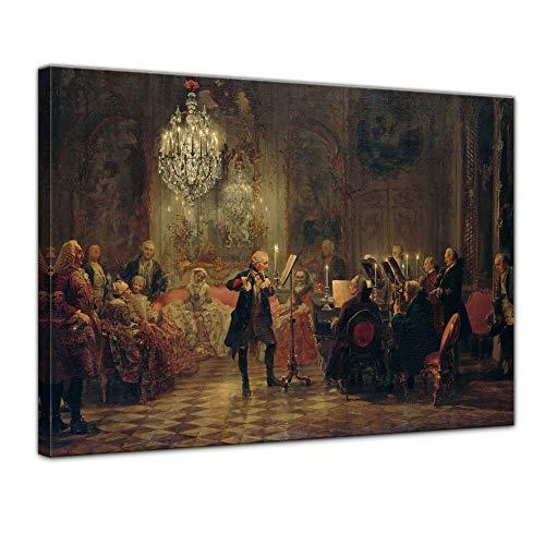Leinwandbild Adolph von Menzel Flötenkonzert Friedrichs des Großen in Sanssouci - 70x50cm quer - Wandbild Alte Meister Kunstdruck Bild auf Leinwand Berühmte Gemälde