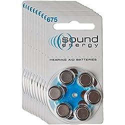 Audisound Zinc Air Amplificateurs Auditifs avec Longue Durée de Vie, Batteries d'amplificateurs auditifs à énergie sonore, Piles Amplificateur Sonore, Taille 675, lot de 10 plaquettes (60 Piles)