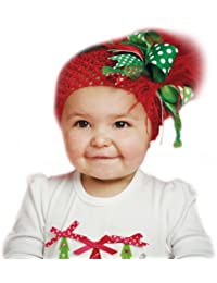 Mud Pie Baby Girls' Christmas Headband, Red, One Size