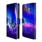 Head Case Designs Wäldchen Purpur Nordlichter Brieftasche Handyhülle aus Leder für Samsung Galaxy Grand Prime