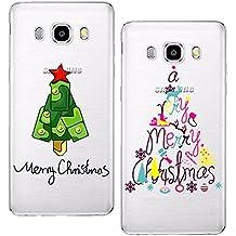 yokata [2unidades] feliz Navidad serie casos para Samsung Galaxy J52016con diseño suave carcasa de silicona transparente Carcasa de Gel para Slim Fit–Carcasa de goma lindo carcasa a prueba de golpes Protector de teléfono móvil de cristal para Samsung Galaxy J52016, Colorful Tree + Christmas Tree, SamsungJ5/2016