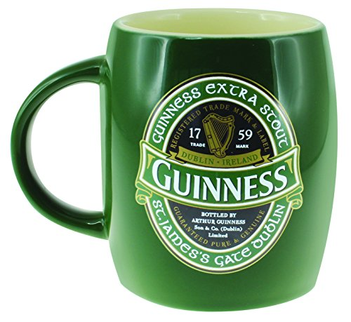 Green Ceramic Barrell Mug with St James Gate Label - Guinness Ireland...