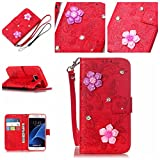 Casefirst Samsung Galaxy S7 Case, [Portable Wallet ] [ Slim Fit ] Heavy Duty Protective Comfortable Flip Cover Wallet Case for Samsung Galaxy S7 - Red