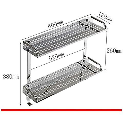 Mensola della cucina in acciaio inox/Bagno rack di stoccaggio/Parete