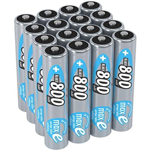 ANSMANN wiederaufladbare Akku Batterien Micro AAA 1 2V/800mAh NiMH - Akkubatterie mit maxE Technologie für Geräte mit hohem Stromverbrauch/Ideal für elektronisches Spielzeug 16 Stück