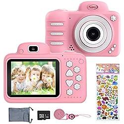 ERAY Appareil Photo Enfants, Caméra Numérique pour Enfants 8MP 1080P HD Photo & Vidéo/Écran de 2.4 Pouces/Double Objectif/Selfie Caméra/ 4X Zoom/Arrêt Automatique/Carte SD de 16 Go Fournie (Rose)