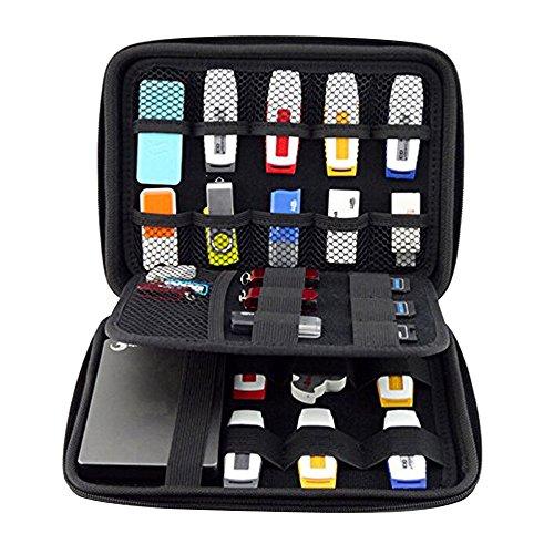 Forepin® Materiale Pendolare Universale Travel Gear Organiser Cavo Organizzatore Elettronica Accessori Custodia da Viaggio per Unità Flash USB, Schede di Memoria, Dischi Rigidi ed Altri Accessori