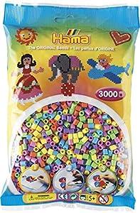 HAMA 201-50 Pastell / Kopfkarte  - Cuentas de plástico de Colores Pastel (3000 Unidades) Importado de Alemania