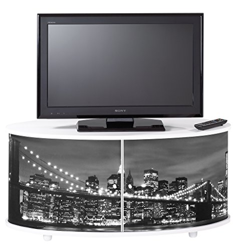 Simmob PRINT110BL501 New York 500 Meuble TV Grand Ecran avec Façade Imprimée Bois Blanc 45,4 x 110,4 x 50,8 cm