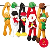 Baker Ross Weihnachtliche hängende Plüschtiere für Kinder als kleine Überraschung im Nikolausstiefel oder als Preis bei Partyspielen (5 Stück)