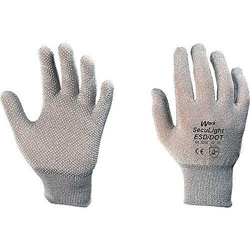 Work Schutzhandschuh SecuLight® ESD/DOT, grau, Nylon-Carbon, Noppen, Größe 9 - Grau Dot