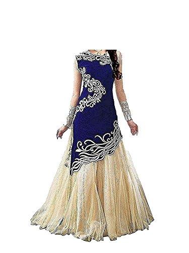 Fashion Vogue Girls Blue Colour Velvet Un-Stitched Lehenga Choli,Gown,Salwar Suits,Dresses [Free Size...