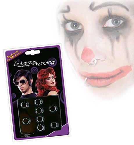 lt: 8 Stück Scherzartikel Punker Rocker Gothic Fake Piercings Nasenring Ohrring Körperschmuck Accessoire Fastnacht Party Karneval Mottoparty (8-ball-halloween-kostüm)