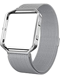 House of Quirk Milanese Loop Bracelet Strap with Frame Compatible for Fitbit Blaze Band Stainless Steel (Watch NOT Included) - Silver