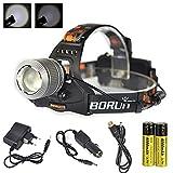Boruit Lampe Frontale Zoom Puissant Imperméable à LED XM-L T6 2000 Lumens...