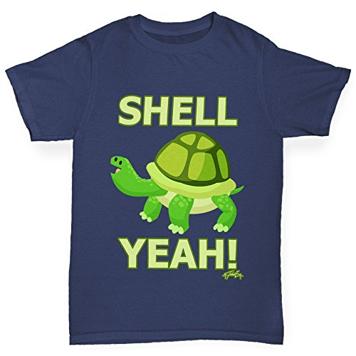 TWISTED ENVY Mädchen T-Shirt Shell Yeah Turtle Print Age 12-14 Marineblau