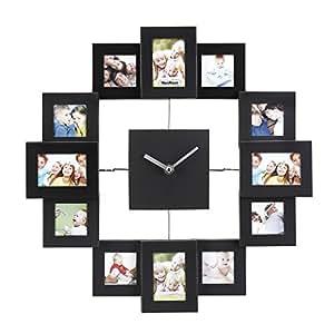 VonHaus Black Photo Frame Clock - Holds 12 Photos & Includes Free 2 Year Warranty