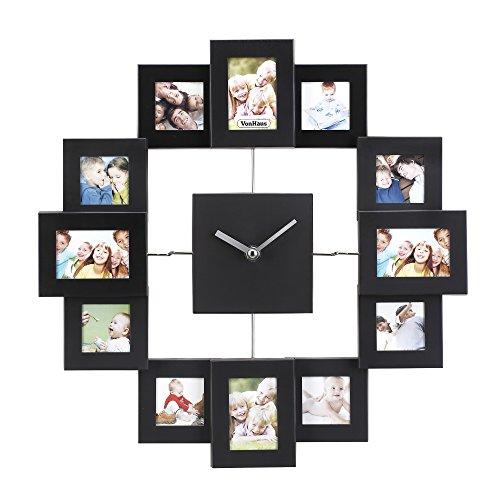 vonhaus-marco-de-fotos-con-reloj-12-marcos-de-fotos-aluminio-cepillado-color-negro