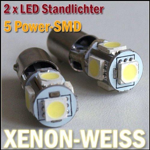 2x LED Feux T4W BA9S 12V 5 Puissance SMD Xenon Blanc - sans les approbations FR -