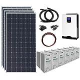 Sistema di alimentazione solare completamente off-grid, 1,4 kW 24 V, con 4 pannelli solari da 360 W,...