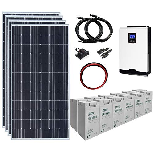 Los 4 paneles solares monocristalinos de alta eficiencia de 360 W de este kit están equipados con 2 cables de 0,9 m con conectores MC4. Este kit también incluye un inversor híbrido Iconica de 3 kW 24 V que combina de forma inteligente lo siguiente en...