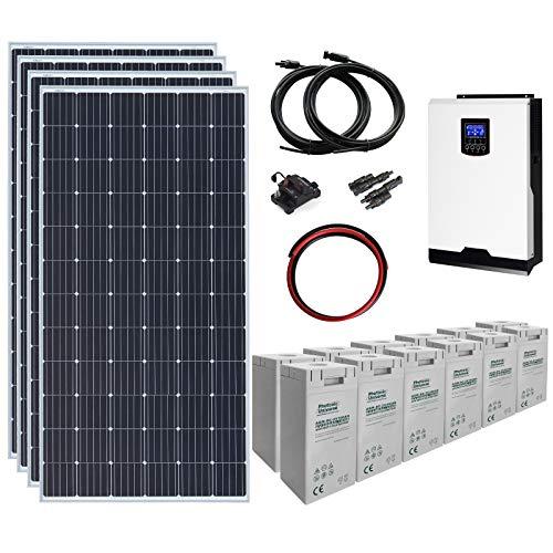 Komplettes Off-Gitter-Solarsystem mit 4 x 360W Solarpanelen, 3 kW Hybrid-Wechselrichter und 7,2 kWh Batteriebank -