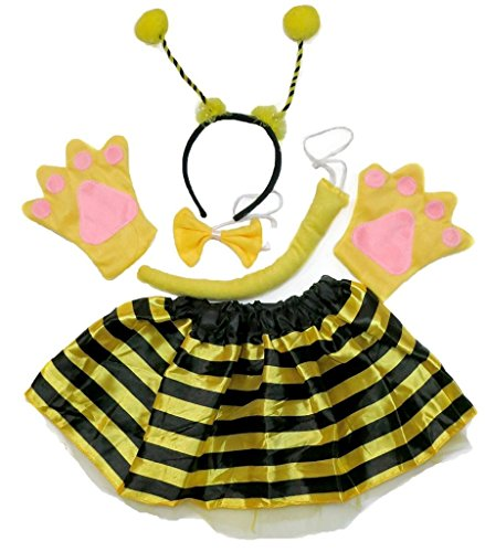 Bee Tutu Kostüm - Petitebelle Stirnband Bowtie Schwanz Handschuhe Tutu 5pc Mädchen-Kostüm Einheitsgröße Gelb Bee