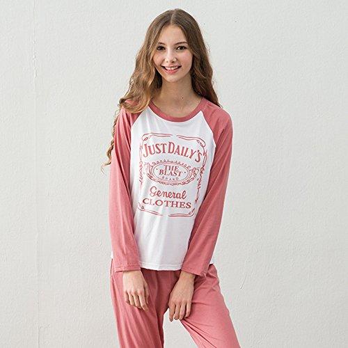 DMMSS Damen Runde Hals lang - Leeved Simple-Pyjama-Set 1
