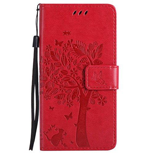 Guran® PU Leder Tasche Etui für Microsoft Lumia 640 Dual-SIM Smartphone Flip Cover Stand Hülle & Karte Slot Case-rote