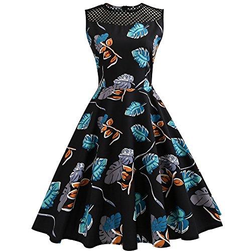 VEMOW 2018 Heißer Elegante Damen Cocktailkleid Frauen Vintage Floral Bodycon Sleeveless Lässige Abendgesellschaft Prom Swing Dress(Blau, EU-38/CN-L)