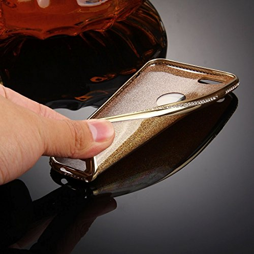 Phone case & Hülle Für iPhone 6 / 6s, Diamond verkrustet Galvanisieren Flash Powder TPU Schutzhülle ( Color : Gold ) Gold