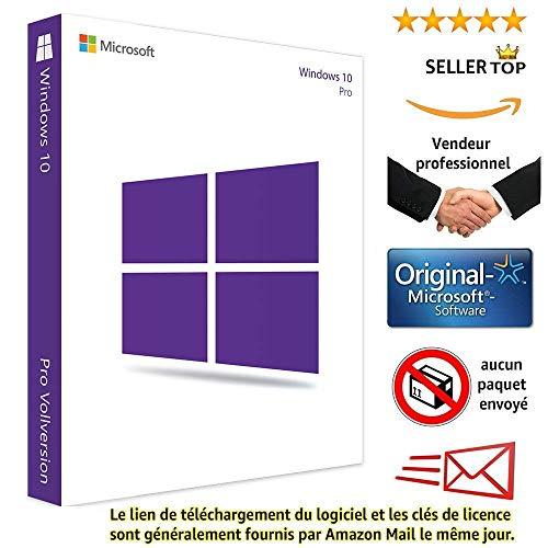 Windows 10 Pro 32/64 Bits Licence - Français - Clé d'activation originale et livraison gratuite par e-mail - Assistance et instructions (Satisfait ou remboursé) - Licence perpétu