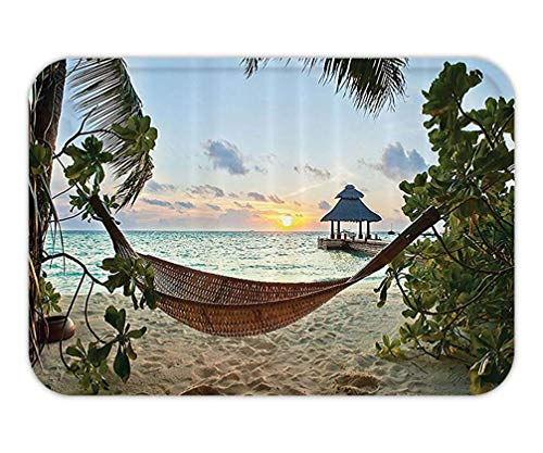 Icndpshorts Doormat Beach Hammock Decor Collection Hammock on Sandy Beach Palm TreeWooden Jetty Sunset View Polyester Fabric Bathroom Set with Hook Long Green Blue Ivory.jpg -