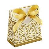 Xvgjdz 50pcs bonbonnières de faveur de Mariage, Motif doré Motif carré avec Rubans de Douche Nuptiale Noce