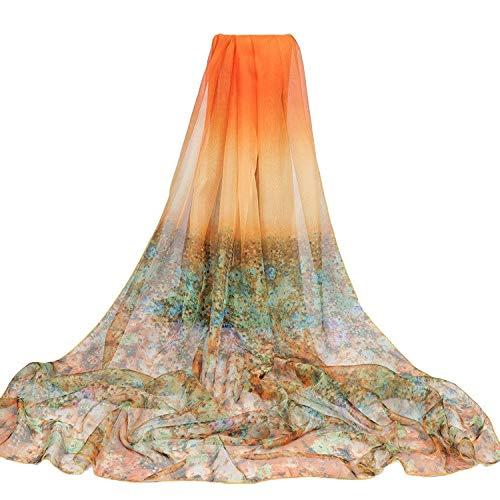 HXLF 200 * 150 cm Sommer Print Silk Schal Übergroßen Chiffon Schal Frauen Strand Pareo Vertuschung Wrap Sarong Sonnencreme Lange Cape Weibliche (Color : 35) -