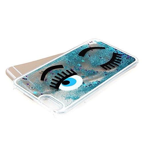 iphone 6 Plus custodia rigida, Copertura dura per la iphone 6 5.5, Hard Case Cover per iphone 6 Plus in 3D, Ukayfe Creative Design scorre fluttuante liquido lusso di Bling di scintillio Sparkle Bella occhio-blu